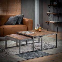 Salontafel set - 2 80x80 grained - Robuust hardhout