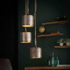 Hanglamp 3x Ø25 Loop getrapt - Antiek Nikkel