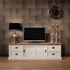 Tv-meubel Oakdale 200cm 2 deuren & 4 lades - wit/eik