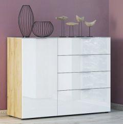 Bahut Dudek 134cm avec 4 tiroirs & 1 porte - blanc/chêne