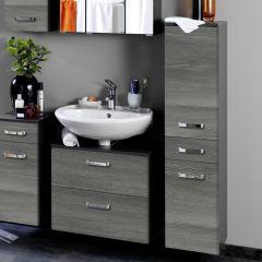 Colonne Bobbi basse 30cm 2 portes et 1 tiroir - graphite/chêne gris