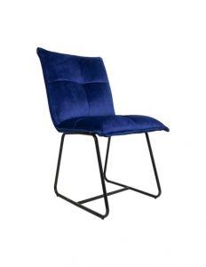 Chaise de salle à manger Estelle - velours/bleu foncé