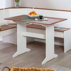 Eettafel Cisse 110x70 - wit/bruin