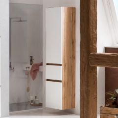 Colonne Kornel 40cm 2 portes & 1 tiroir - chêne/blanc mat