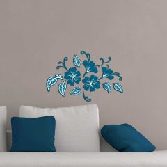 Stickers muraux bleus 3D Butterflies & Leaves - mousse