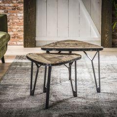 Salontafel set - 2 levervormig met een metalen rand - Robuust hardhout