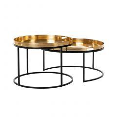 Lot de 2 tables basses Depay - noir/or