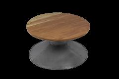 Table basse - ø80 cm - bois / fer recyclé