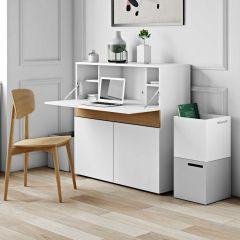 Bureau/meuble de rangement Fox - blanc/chêne