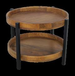 Table basse Hudson - 56x56 cm - bois de manguier / fer