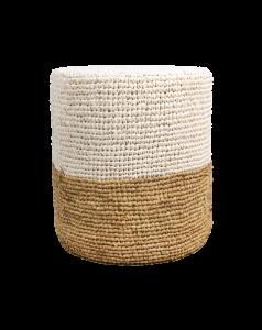 Pouf Malibu - raffia - ø34 cm - naturel / wit
