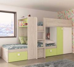 Lit superposé Beau avec armoire & tiroirs - pin/vert
