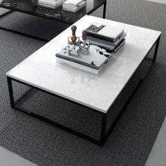 Table basse Prairie - marbre blanc/acier