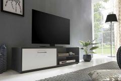 Tv-meubel Sami 1 deur 120cm - wit/grafietgrijs