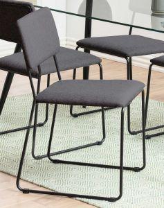 Set de 2 chaises en tissu Nelly - anthracite/noir