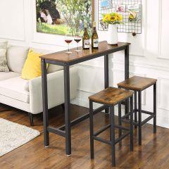 Table de bar Isolde 120x40 - brun/noir