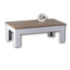 Table basse Armando 115cm avec 1 tiroir - chêne/blanc