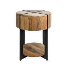 Table d'appoint Jackson ø40 cm - bois de manguier/fer