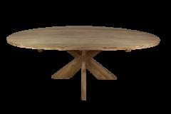 Ovale eettafel met kruispoot - 240x120 cm - blank - teak