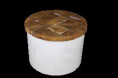 Salontafel Drum - white resin - teak / ijzer