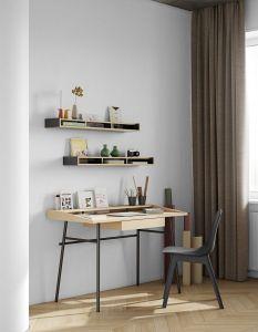 Bureau Ply 120cm met lade - eik/zwart