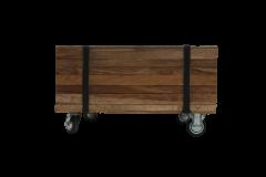 Table basse Singa sur roulettes - 50x50 cm - naturel - teck / fer