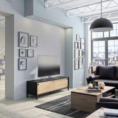 Meuble TV Jonah avec 2 portes coulissantes - châtaigne/noir
