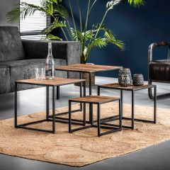 Set de 4 tables basses Florin 50x50 - bois dur