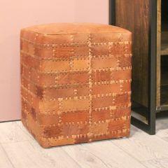 Poef Patchwork 33x33cm leer – vintage cognac