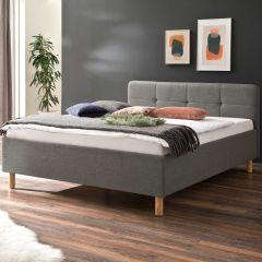 Bed Azis 140x200 met houten poten - lichtgrijs/bruin