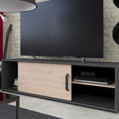 Tv-meubel Leandro 155cm - antraciet/eik