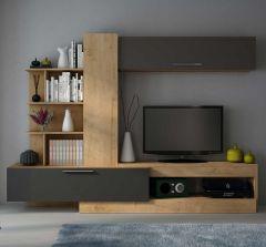 Meuble tv Zomi 260cm - chêne/graphite