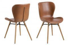 Set van 2 kunstlederen stoelen Tilda met schuine poten - cognac/eik