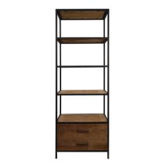 Open kast Weston 64cm met 2 lades - teak/ijzer