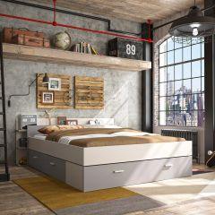 Lit avec rangement Eveline 140x190 - blanc/gris