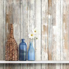 Zelfklevend behang Distressed Wood  - grijsbruin