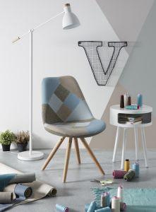 Set van 4 stoelen Ralf hout/stof - patchwork blauw