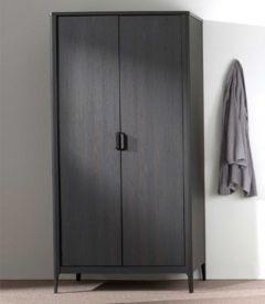 Kledingkast Azalea 100cm met 2 deuren - bruin/zwart
