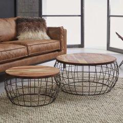 Table de salon serié - 2 feuille de table en bois - câble - Cuivre antique finish