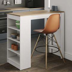 Table de bar Aravis 115x50 avec rangement - blanc/chêne