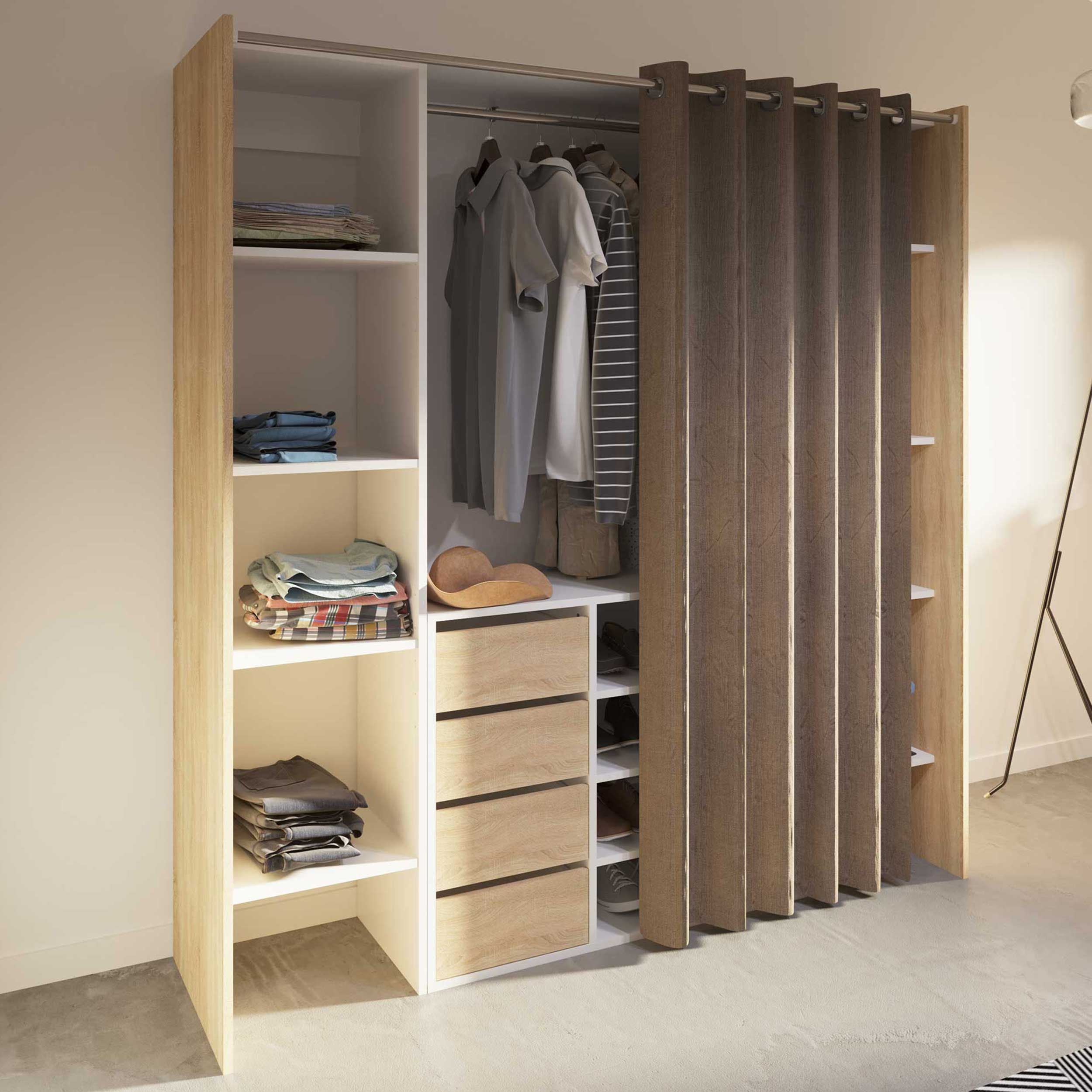 armoire spike 112 185cm avec rideau tiroirs chene taupe