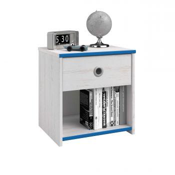 Table de chevet Smiley 1 tiroir - blanc/rose ou blanc/bleu