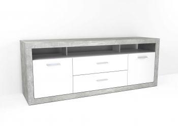 Tv-meubel Turbo 2 deuren & 2 laden - beton/hoogglans wit
