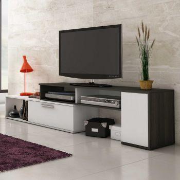 Meuble tv Whale 170cm - blanc/anthractie