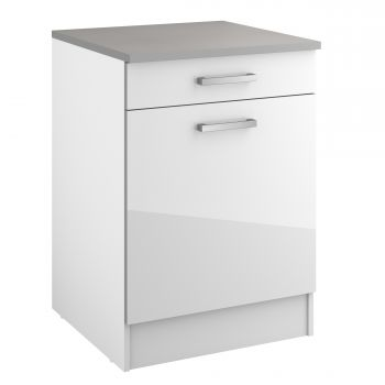 Meuble bas Eli 60 cm avec tiroir et porte - blanc