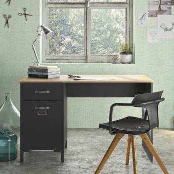 Bureau Manno 120cm industrieel - zwart