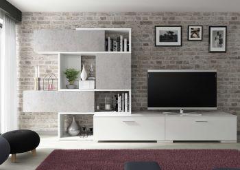 Tv-meubel Verena 230cm - hoogglans wit/beton
