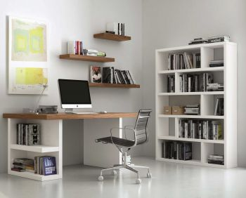 Bureau Multis 180cm - wit/walnoot