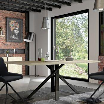 Eettafel Rufus 200x100 - eik/zwart