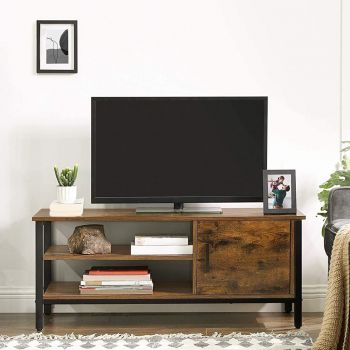 Tv-meubel James 110 cm 1 legplank 1 deur - rustiek bruin/zwart